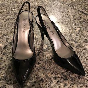 ShoeDazzle Maura black pointy toe slingback heels